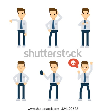 Set of vector flat style characters: office guy being upset. - stock vector