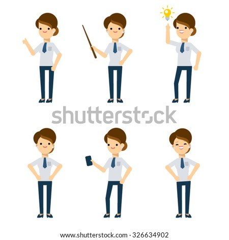 Set of vector flat style characters: office lady in different poses. - stock vector