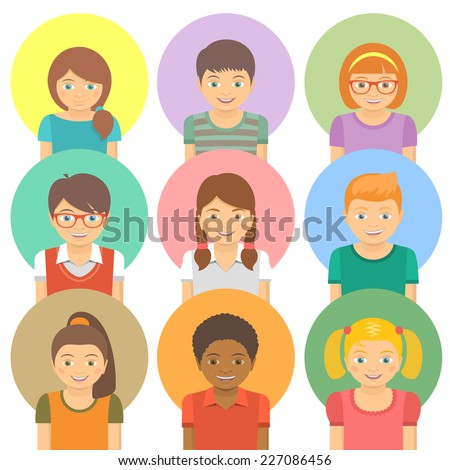 Set of vector flat stylized avatars of different happy smiling kids on colored circles. Portraits of boys and girls of different ethnicity.  - stock vector