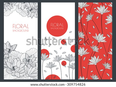 Set of vector floral banner backgrounds and seamless pattern. Linear illustration of lotus, lily flowers. Concept for boutique, jewelry, beauty salon, spa, fashion, flyer, invitation, banner design. - stock vector