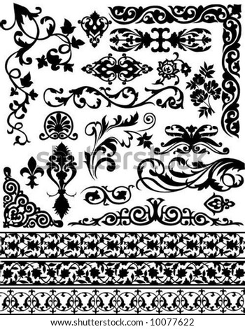 set of vector floral design elements - stock vector