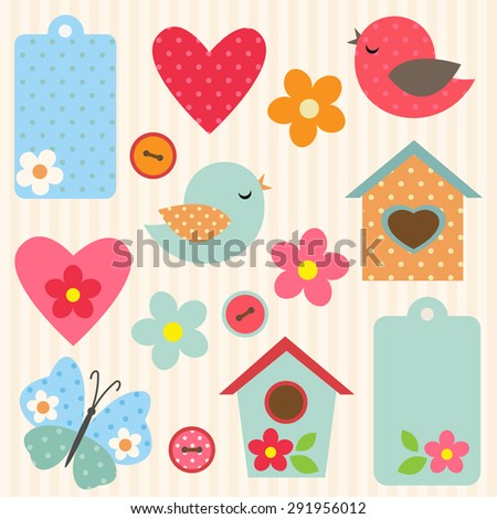 Set of vector flowers, birds, butterfly and birdhouses - stock vector