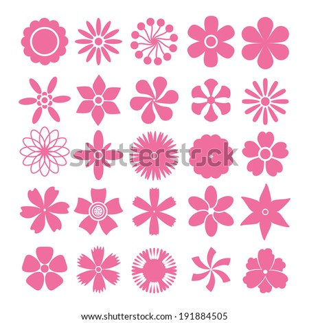 set vector flowers simple shapes on stock vector 191884505 shutterstock - Simple Shapes