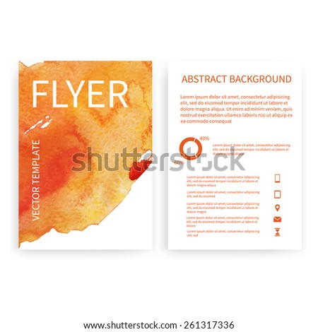 Set of vector flyer templates with red watercolor paint splash. Abstract background for business documents, posters, cards, reports, publications, etc. - stock vector