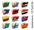 Set 5 of vector folders icons with world flags - stock photo