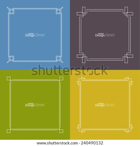 Set of vector frame, banners, seals, emblems, badges on colored backgrounds. Outline labels. Logo templates. minimal design - stock vector