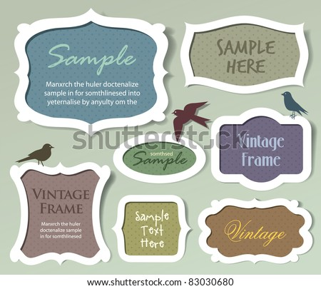 Set of vector frames and labels - stock vector