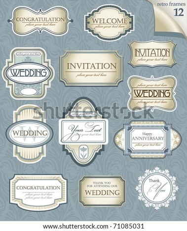 Set of  vector frames for Wedding or Anniversary. Perfect for classical invitation or announcement cards. - stock vector
