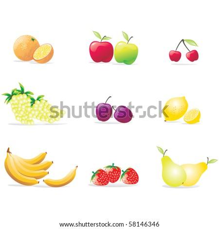 Set of vector fruits - stock vector