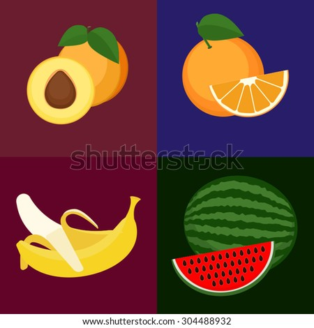 Set of vector fruits. Sweet, tasty orange, apricot, watermelon and banana. - stock vector