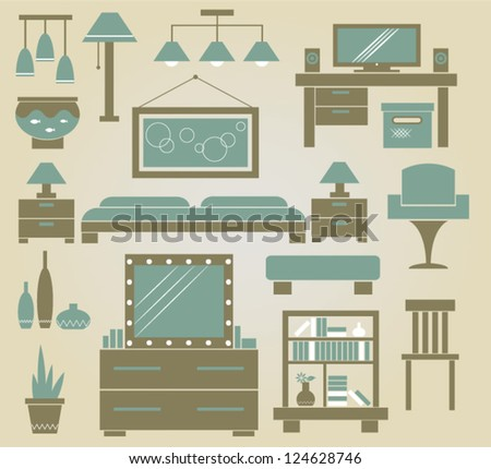 set of vector furniture icons for bedroom - stock vector