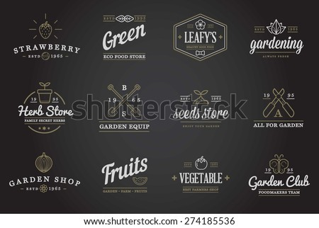 Set of Vector Garden and Farm Elements and Fruits or Vegetables Icons Illustration can be used as Logo or Icon in premium quality  - stock vector