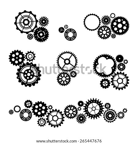Set of vector gears. Various black design elements isolated on white background. - stock vector