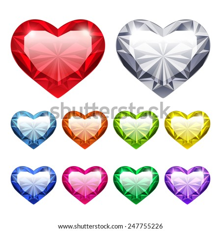Set of Vector Gem Hearts Icons for Romantic Jewelry Projects. Isolated on White Background. - stock vector