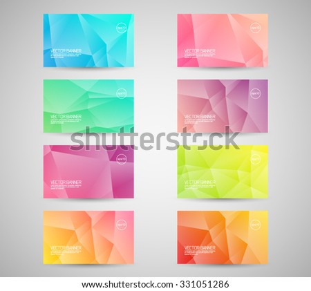 Set of vector geometric banner, business card. Triangular style design background. - stock vector