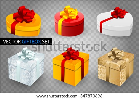 Set of vector gift boxes with bows and ribbons on transparent background. Heart, round and cube shape. White, golden, silver and yellow colors. - stock vector