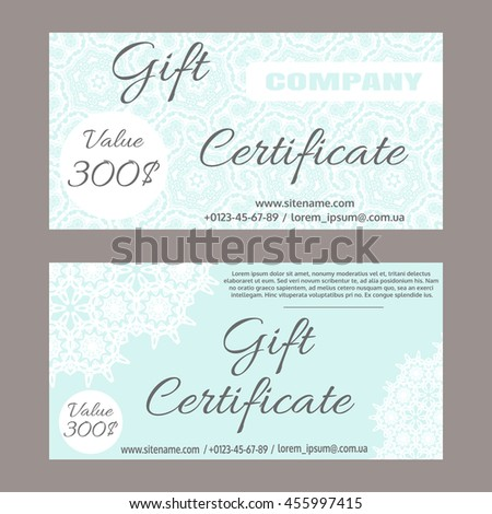 Set vector gift certificate gift certificate stock vector 455997415 set of vector gift certificate gift certificate template with lace ornaments yadclub Gallery