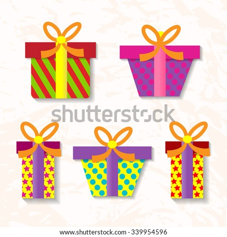 Set of vector gifts - stock vector