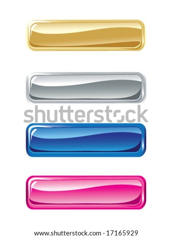 Set of vector glass shone buttons on a white background
