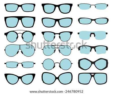 set of vector glasses with blue lenses on white background - stock vector