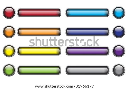Set of vector glassy buttons