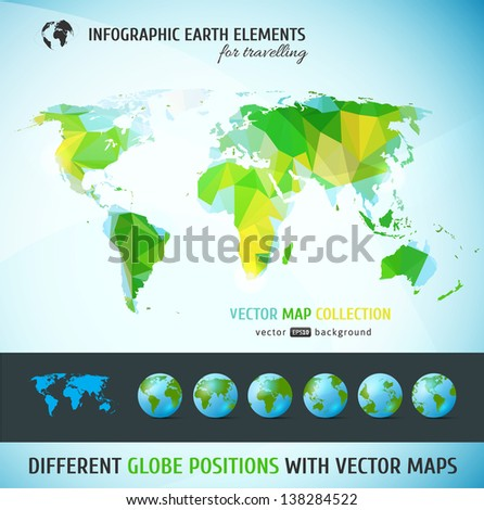 Set of vector globe icons and vector world map - stock vector