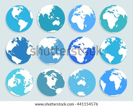 Set of vector globe icons in flat style, showing all continents