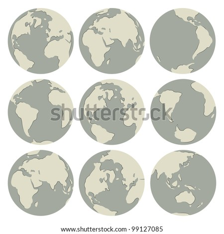 Set of vector globes: earth with all continents