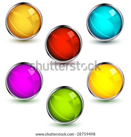 set of vector glossy  buttons with shadows over white background