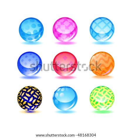 Set of vector glossy spheres