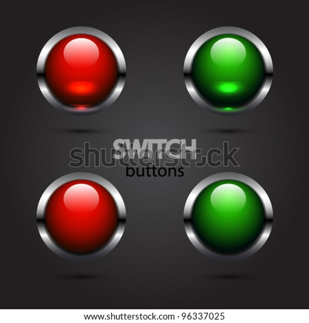 Set of vector glossy switch on/off buttons. Green and red two positions with light - stock vector