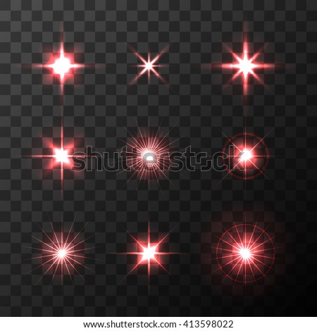Set of Vector glowing light effect  red stars bursts with sparkles on transparent background. Transparent red stars. - stock vector