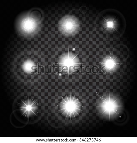 Set of Vector glowing light effect stars bursts with sparkles on transparent background - stock vector