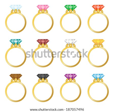 Set of vector gold rings