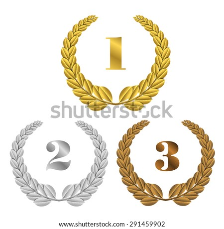 Set of vector gold, silver and bronze symbols places