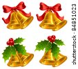 Set of vector golden Christmas bells - stock photo