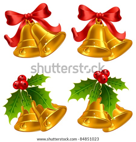 Set of vector golden Christmas bells - stock vector