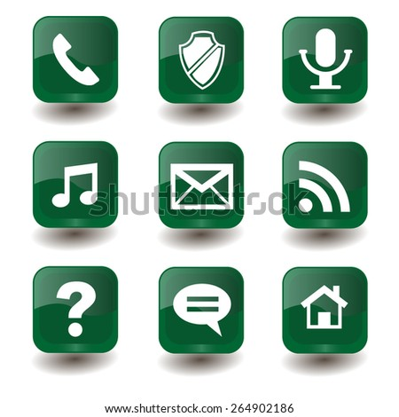 Set of vector green buttons with internet-signs