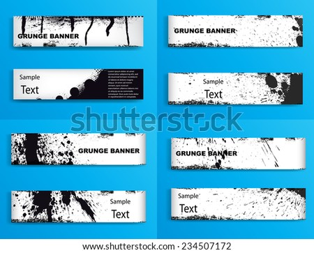 Set of Vector Grunge Banner . Black and White Banner Collection . - stock vector