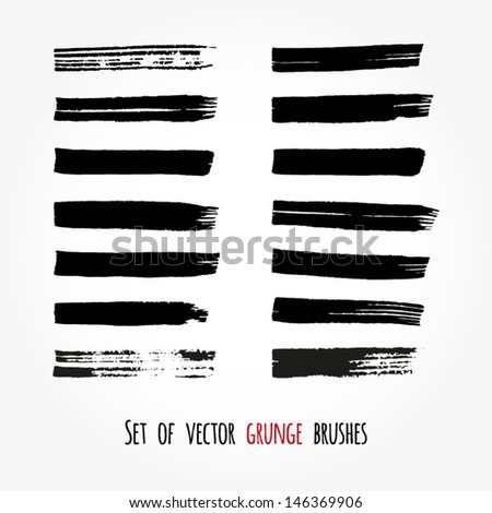 Set of vector grunge brushes. Abstract ink strokes - stock vector