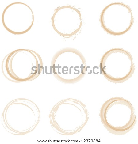 set of vector grunge style coffee cup rings / stains