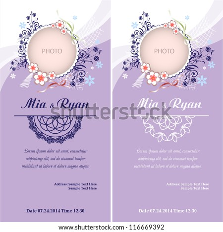 Set of Vector Half Ornament Frame. Background of color of a lavender with frame for photo. Grouped for easy editing. Perfect for invitations or announcements. - stock vector