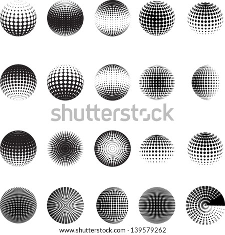 Set of vector halftones globe - stock vector