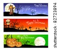 Set of vector halloween backgrounds - stock vector