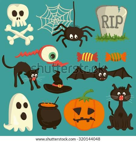 Set Vector Halloween Cartoon Icons Stock Vector 320144048 ...