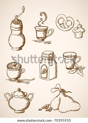 set of vector hand drawn  coffee icons in retro style - stock vector
