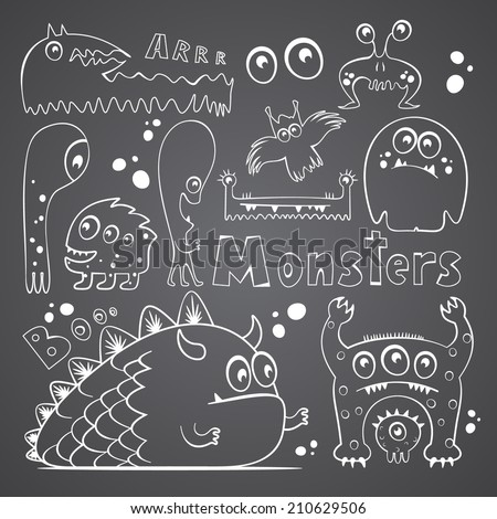 Set of vector hand drawn freaky monsters - stock vector