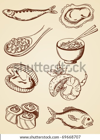 set of vector hand drawn seafood in retro style - stock vector