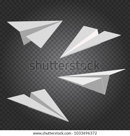 Set of vector handmade paper planes isolated on transparent background. Realistic origami illustration. Isometric view.
