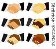 set of vector handshake, multicultural - stock vector